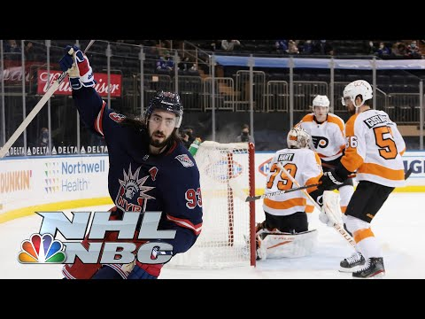 Mika Zibanejad explodes for natural hat trick for Rangers vs. Flyers | NBC Sports